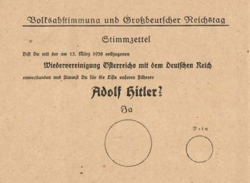 Stimmzettel vom 10. April 1938