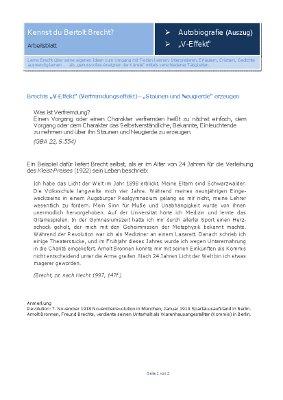 Deutschland-Lese | Arbeitsblatt : Autobiographie & Verfremdung