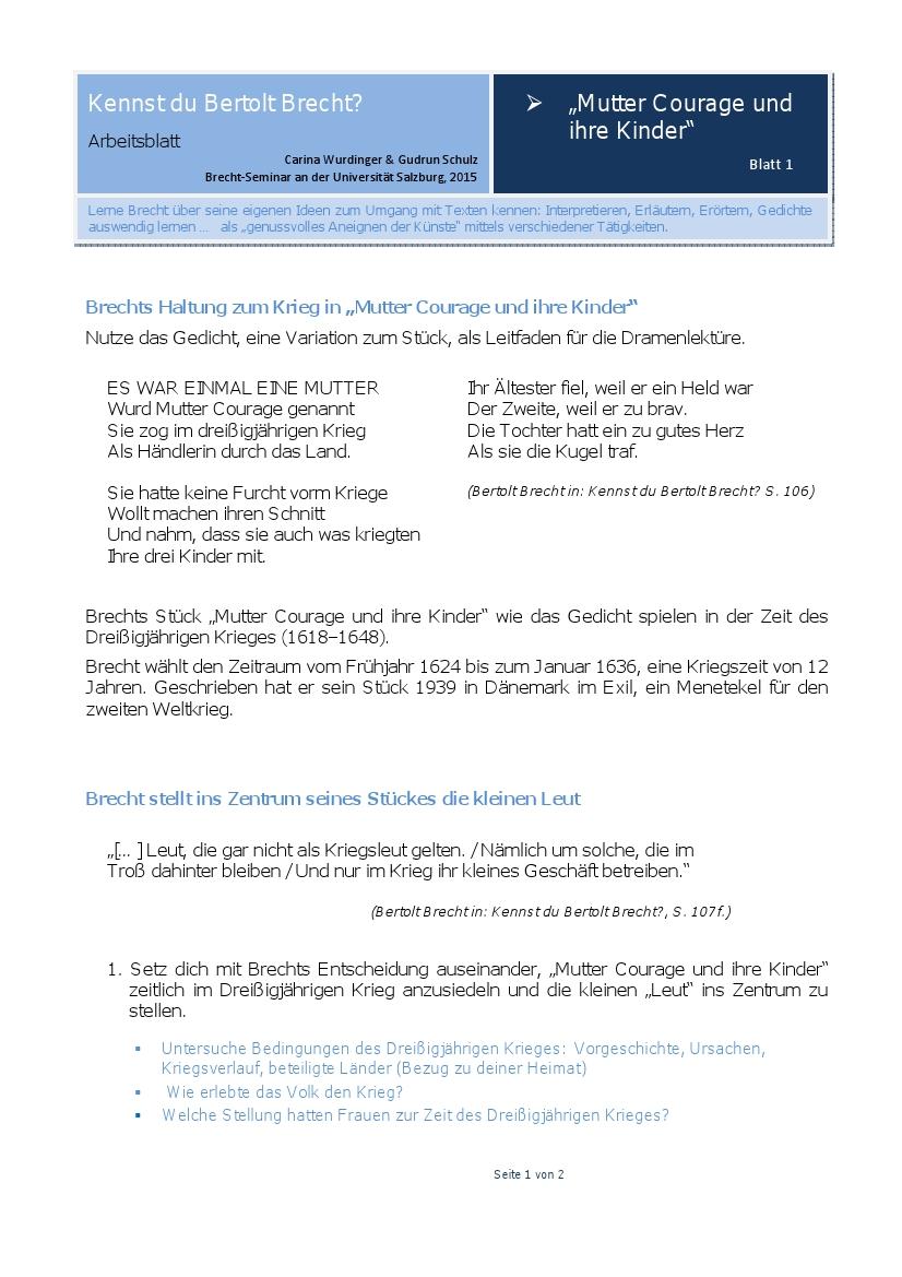 Deutschland-Lese | Arbeitsblatt: Mutter Courage, Blatt 1
